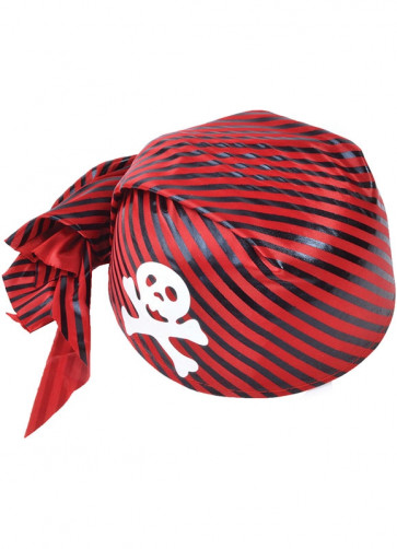 Pirate Skull Cap (Red Striped)