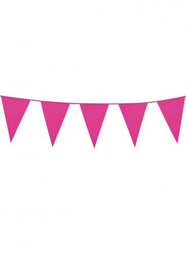 Large Dark Pink Triangular Plastic Bunting 10m