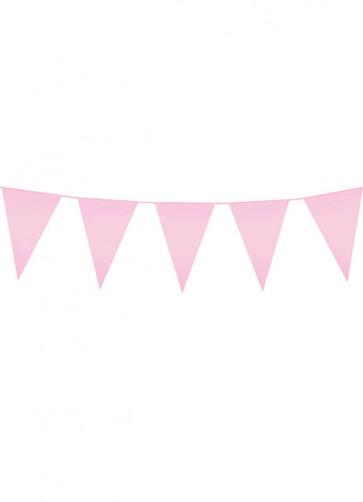 Large Light Pink Triangular Plastic Bunting 10m