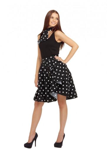 1950s Rock and Roll Polkadot Skirt (Black)