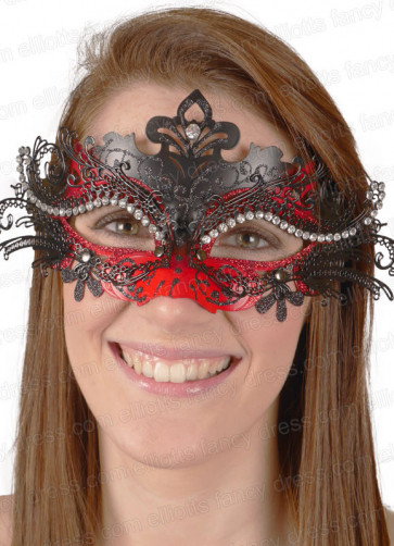 Puccini Eye Mask Black & Red with Diamantes