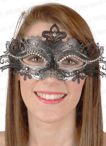 Puccini Eye Mask Black & Silver with Diamantes