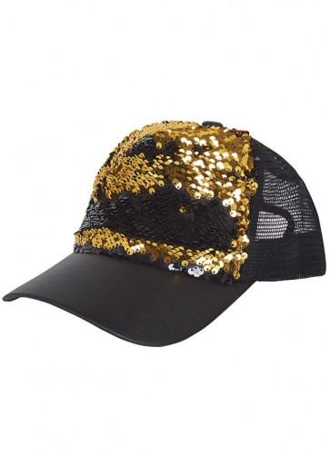 Reversible Sequin Cap Gold & Black