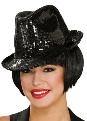 Black Sequin Fedora / Trilby Hat