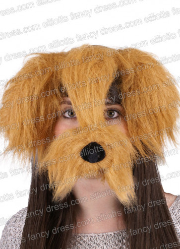 Shaggy Dog Mask with Sound - Brown