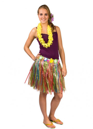 Hawaiian Short Multi Grass Skirt With Flowers