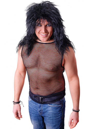 Rock Star String Vest (Black Fishnet)