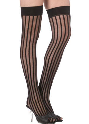 Burlesque Stockings - Vertical Stripes - Dress Size 6-14
