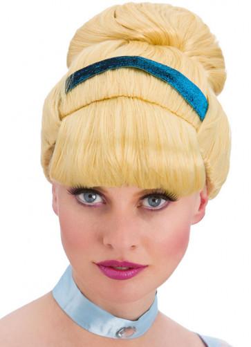 Sweet Cinders Blonde Bun Wig with Blue Ribbon