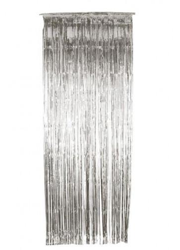 Tinsel Slash/Shimmer Curtain - Silver 3ft x 9ft