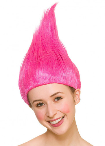 Troll Wig Pink - Up-combed Hair