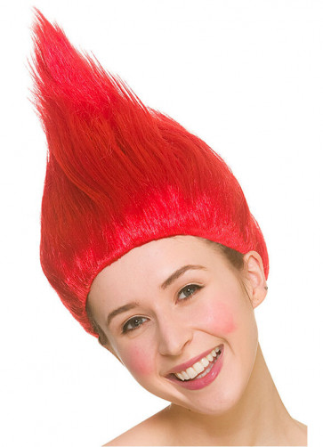 Troll Wig Red - Up-combed Hair