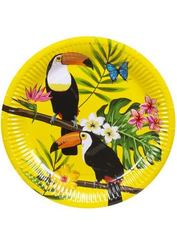 Tropical Toucan Paper Plates 23cm – 6pk