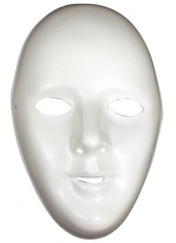 White Female Plastic Robot Mask - Blank Canvas