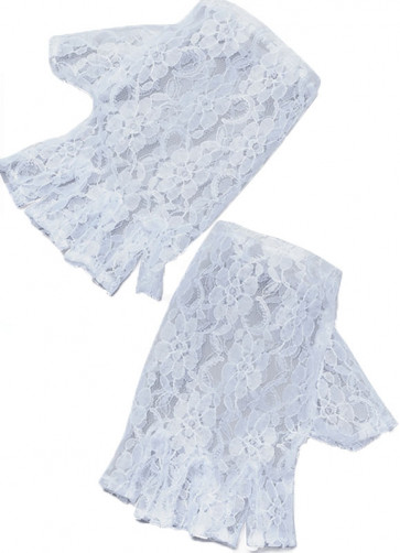 Gloves Short Fingerless Lace (White)