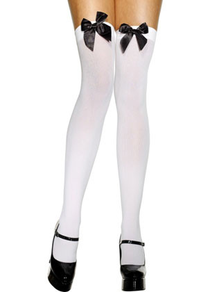 White Stockings with Black Bows - Dress Size 6-14