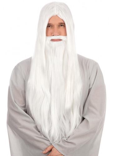 White Long Straight Prof Wizard Wig & Beard
