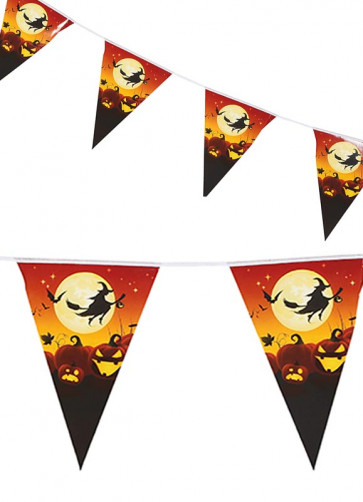 Haloween Pumpkin Patch Witch Bunting 2.5m - Double-Sided Paper