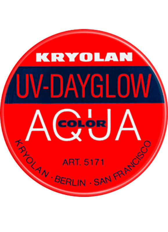 Kryolan UV-Day Glow Aquacolor Red 8ml Make-Up Body Paint
