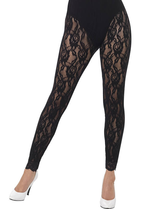 15625e8699cd1 80's Black Lace Footless Tights - Dress Size 6-18