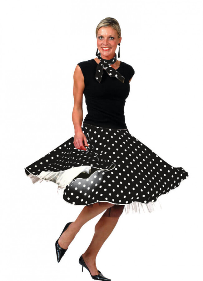 1950s Rock And Roll Polkadot Skirt Black
