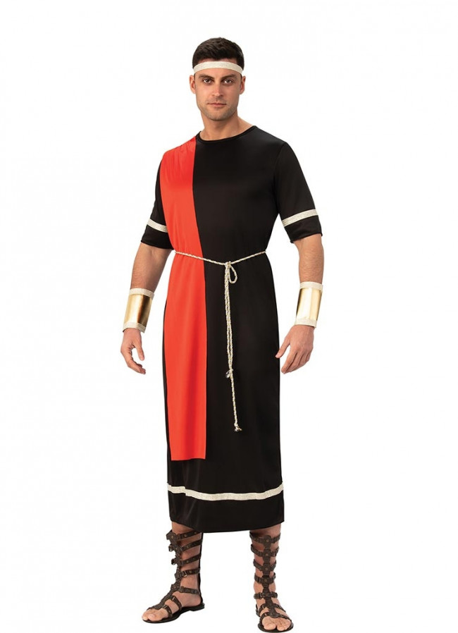 BOYS CAESAR ROMAN GREEK TOGA IN BLACK FANCY DRESS COSTUME