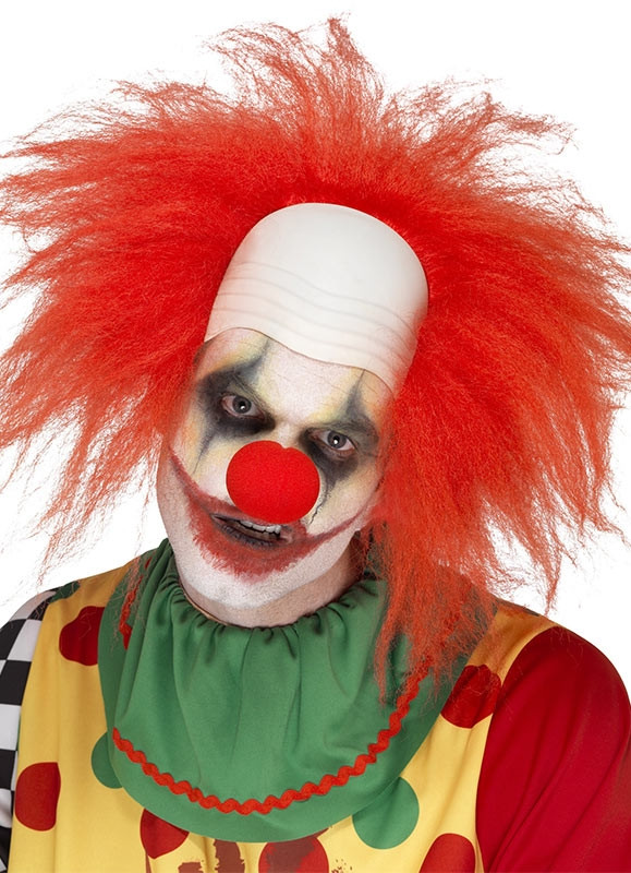Deluxe Clown Wig - Red Hair and Bald Head