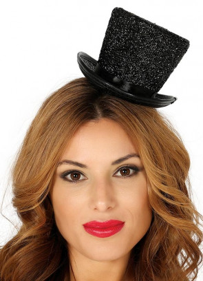 Mini Glitter Top Hat – Black