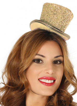 Mini Glitter Top Hat – Gold