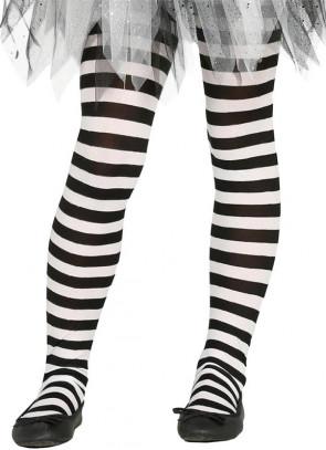 Kids Striped Tights - Black & White