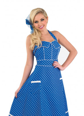1950s Polkadot Blue Dress Costume