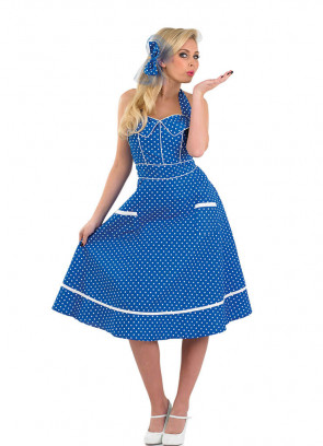 1950s Polkadot Blue Dress Costume ...  sc 1 st  Ladies Fancy Dress Costumes - Womens Fancy Dress Costume Ideas : lady gangster costume ideas  - Germanpascual.Com