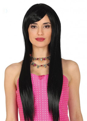Long Straight Black Wig with Side Fringe
