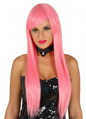 Long Straight Bubblegum Pink Wig with Side Fringe