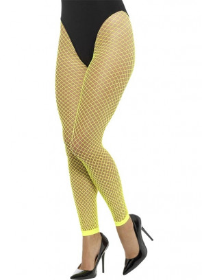 Fishnet Footless Tights – Neon Yellow 6-18