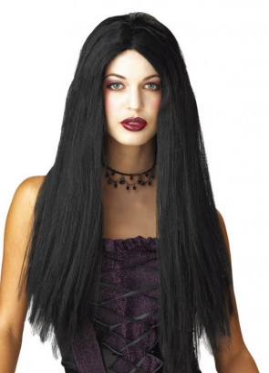 "24"" Black Centre Parting Wig"