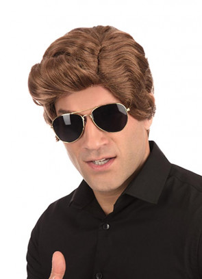 70s Used Car Salesman Short Voluminous Brown Wig with Side Parting