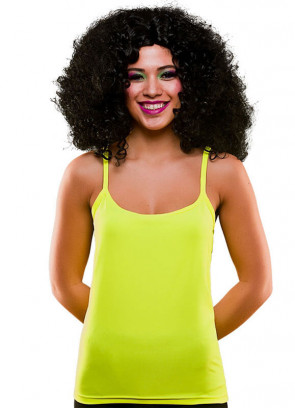 80s Vest Top Neon Yellow