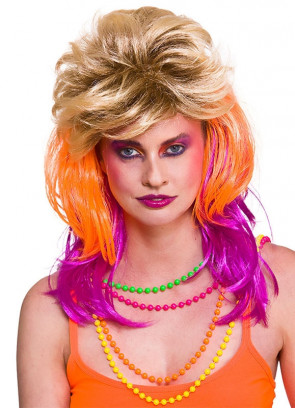80s Cindi Funky Rocker Wig with Blond, Orange and Pink Layers
