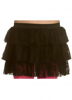 80's Lacy Ra Ra Skirt Black
