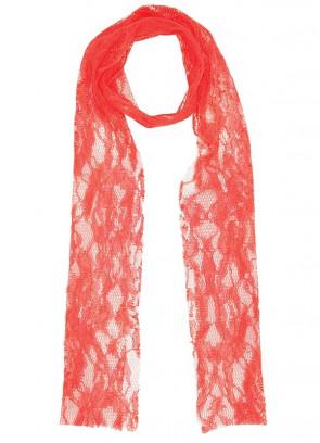 80s Neon Orange Lace Scarf