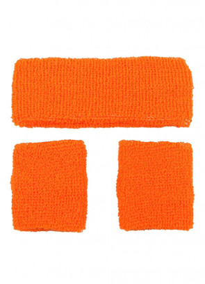 80's Sweatbands and Wristbands - Neon Orange