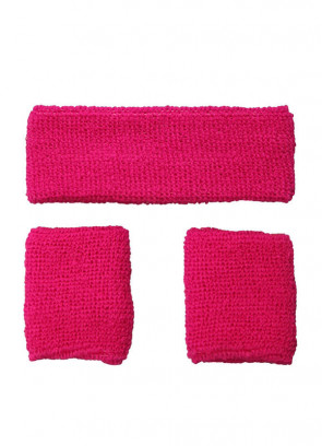 80's Sweatbands and Wristbands - Neon Pink