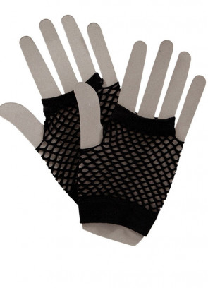 80s Fishnet Gloves Black - Short