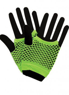 80s Fishnet Gloves Neon Green - Short