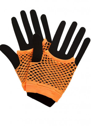80s Fishnet Gloves Neon Orange - Short