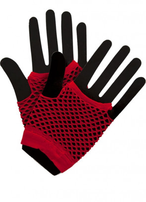 80s Fishnet Gloves Red - Short