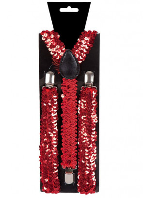 Red Sequins Trouser Braces / Suspenders
