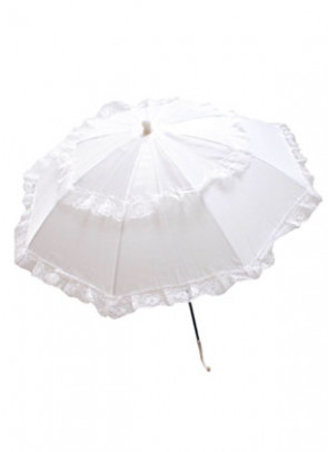 White Lace And Cloth Parasol
