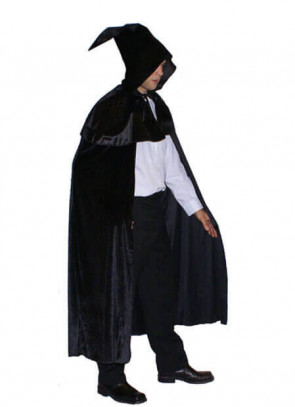 Black Velvet Hooded Cape